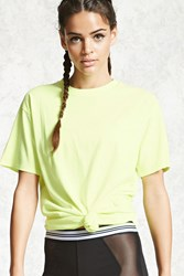 Forever 21 Active You Win Graphic Top Neon Yellow White