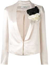 Lanvin Fitted Embroidered Blazer Women Polyamide Polyester Acetate Glass 36 Nude Neutrals