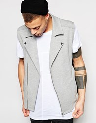 Asos Sleeveless Jersey Biker With Faux Leather Panels Grey