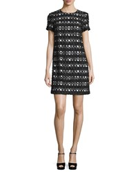Michael Michael Kors Short Sleeve Lace Overlay Shift Dress Black White