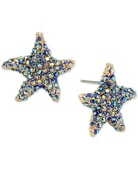 Betsey Johnson Gold Tone Colored Pave Starfish Stud Earrings Multi