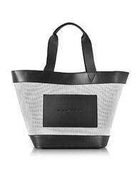 Alexander Wang Black And White Canvas Tote Bag W Leather Pocket Black White