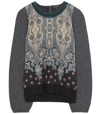 Etro Printed Wool Blend Sweater Multicoloured