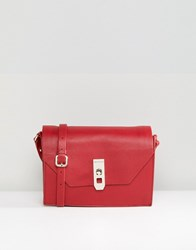 Paul Costelloe Real Leather Blue Cross Body Box Bag With Gold Closure Red
