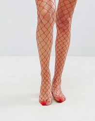 Asos Oversized Fishnet Tights In Red Red