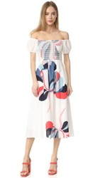 Tanya Taylor Ribbon Floral Zanna Dress White Multi