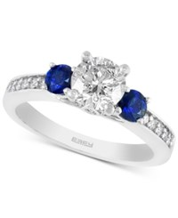 Effy Collection Effy Bridal Diamond 1 1 10 Ct. T.W. And 1 2 Ct. T.W. Sapphire Ring In 14K White Gold