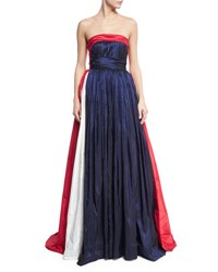 Naeem Khan Strapless Tricolor Taffeta Ball Gown Blue Multi Blue Pattern