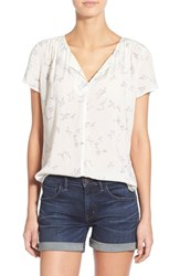 Hinge Women's Print Split Neck Top Ivory Paper Birds