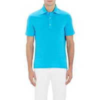 Isaia Striped Slub Polo Shirt Turquoise