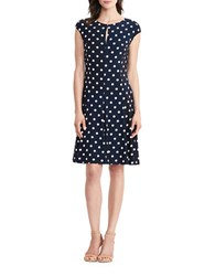 Lauren Ralph Lauren Petite Polka Dot Jersey Dress Light Navy Blue