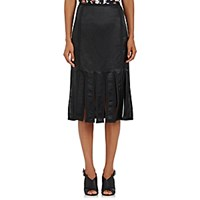 Thom Browne Women's Satin Strip Hem Skirt Dark Green