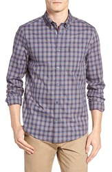 Ben Sherman Men's Trim Fit Gingham Woven Shirt Washed Blue