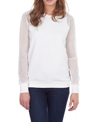 William Rast Mesh Sleeve Pullover Ecru