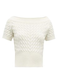 Alexander Mcqueen Off The Shoulder Cable Knit Wool Blend Sweater Ivory