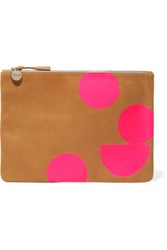 Clare V. V Neon Printed Suede Clutch Light Brown