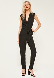 Missguided Tall Exclusive Black Sleeveless Tuxedo Jumpsuit