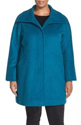 Ellen Tracy Plus Size Women's Wool Blend A Line Coat Teal