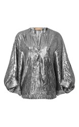 Michael Kors Collection Slit Neck Tunic Top Silver