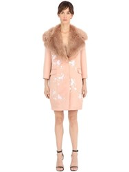Ainea Floral Embroidered Satin And Faux Fur Coat