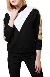 Petite Women's Topshop Colorblock Funnel Neck Sweatshirt
