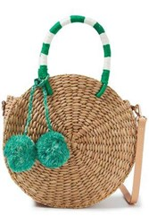 Kayu Woman Pompom Embellished Woven Straw Shoulder Bag Green