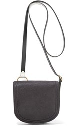 Diane Von Furstenberg Saddle Mini Calf Hair And Leather Shoulder Bag Navy