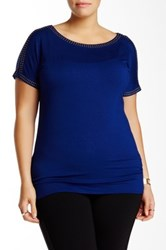 Premise Studio Boatneck Embellished Blouse Plus Size Blue