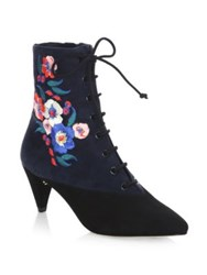 Tory Burch Cassidy Lace Up Embroidered Booties Black