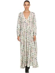 Zadig And Voltaire Printed Viscose Long Dress Beige Multicolo