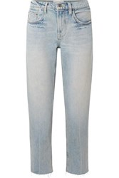 Current Elliott The His Cropped Distressed Boyfriend Jeans Light Denim