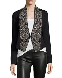 Haute Hippie Embellished Ponte Cropped Jacket Black Size S