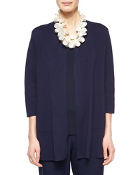 Eileen Fisher 3 4 Sleeve Silk Cotton Interlock Cardigan Midnight Petite