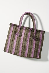 Anthropologie Candy Striped Woven Tote Bag Purple