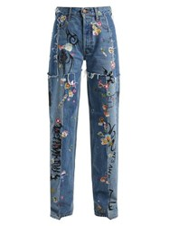 Vetements Sticker Mid Rise Straight Leg Jeans Light Blue
