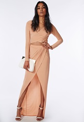 Missguided Slinky Wrap Front Maxi Skirt Nude Beige