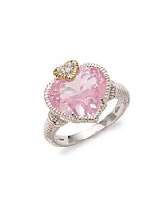 Judith Ripka Sterling Silver And Crystal Stone Heart Solitaire Ring No Color