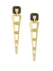 Pleve Opus Black Diamond And 18K Yellow Gold Egyptian Drop Earrings Gold Black