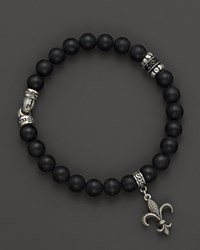 Scott Kay Men's Sterling Silver And Matte Onyx Beaded Bracelet With Black Spinel Station And Fleur De Lis Charm