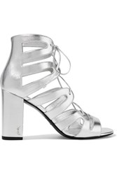 Saint Laurent Babies Lace Up Metallic Leather Sandals Silver