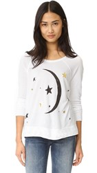 Sundry Moon And Stars Crop Pullover White