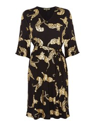 Biba Geo Tigers Tie Waist Jersey Tunic Dress Black Gold