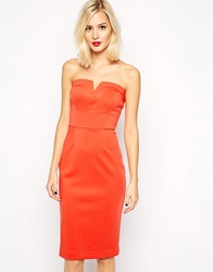River Island Bandeau Pencil Bodycon Dress Brightred