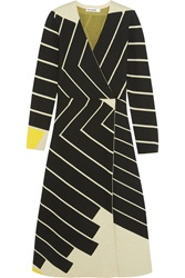 Jil Sander Striped Wrap Effect Stretch Knit Dress