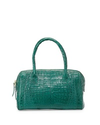 Nancy Gonzalez Small Zip Top Crocodile Handbag Teal