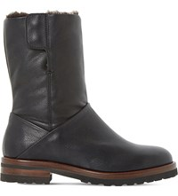 Dune Rayner Shearling Lined Leather Boots Black Leather