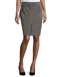 Halston Drawstring Waist Suede Pencil Skirt Dark Gravel