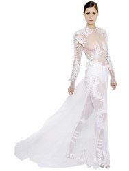 Francesco Scognamiglio Embroidered Patches On Sheer Tulle Dress