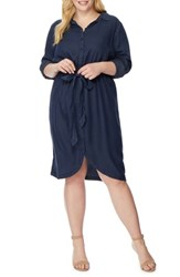Rebel Wilson X Angels Plus Size Women's Tie Front Shirtdress Dark Chambray