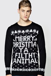 Boohoo Christmas Ya Filthy Animal Jumper Black